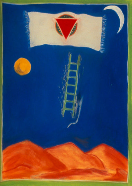 ladders of light root chakra muladhara first giclee print sherri silverman spiritual art artist kundalini silver flames archival buy order sun crescent moon flying carpet flag green ladder prayer flag