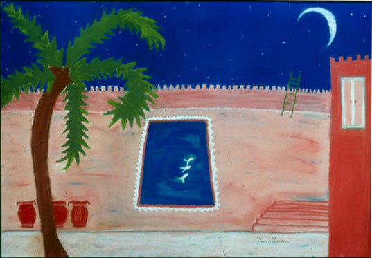 swimming to moon pink jars moroccan architecture crescent moon art