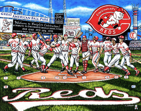Completed Painting Announcement -- Cincinnati Reds Tribute by Thomas Jordan