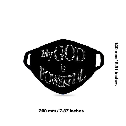 "FCM-020 ""MY GOD IS POWERFUL"" Fabric Face Mask Double Layer Set of 2"