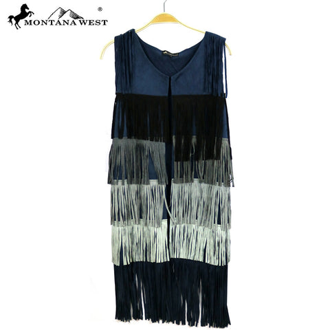 PCH-1644 Montana West Suede-Like Fringe Long Vest