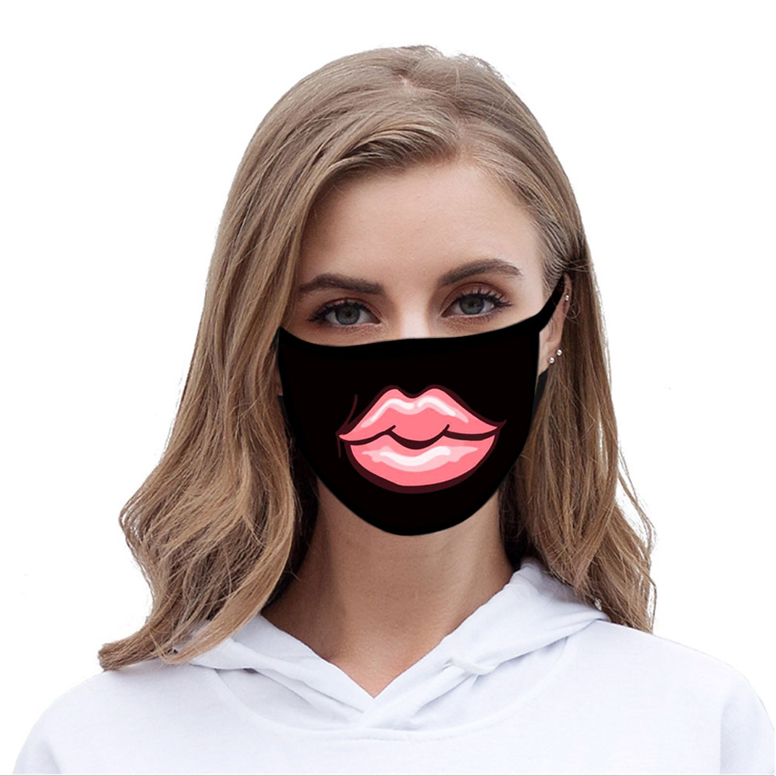 FCM-033ABK American Bling Pink Big Lip Fabric Face Mask Double Layer Set of 2
