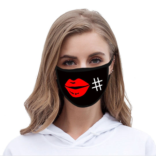 FCM-030ABK American Bling Red Lips Fabric Face Mask Double Layer Set of 2
