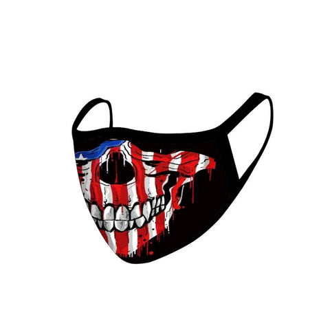 FCM-031ABK American Bling US Flag Color Skull Fabric Face Mask Double Layer Set of 2