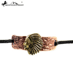 BR160101-01COP  Indian Head With leather Cord Bracelet