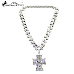 BOT160503-02 TWO STRAND CRYSTAL BOOT CHAIN W/CROSS CHARM
