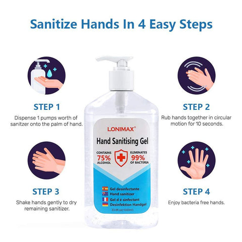 HS-1000ML Gel Hand Sanitizer with Aloe Vera Disinfectant Alcohol Liquid 75% (33.8 Fl Oz)