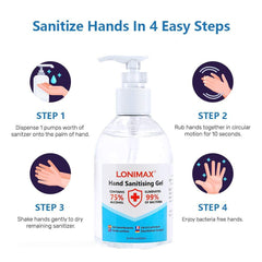 HS-250ML Gel Hand Sanitizer with Aloe Vera Disinfectant Alcohol Liquid 75% (8.45 Fl Oz)
