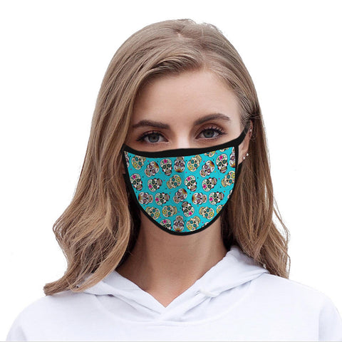 FCM-023 American Bling Turquoise Multi Color Sugar Skull Fabric Face Mask Double Layer Set of 2