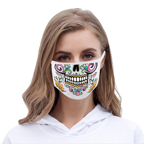 FCM-014 White Floral Sugar Skull Fabric Face Mask Double Layer Set of 2