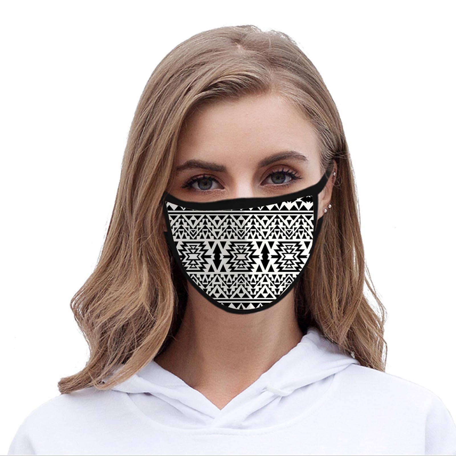 FCM-006 Black & White Aztec Print Fabric Face Mask Double Layer Set of 2