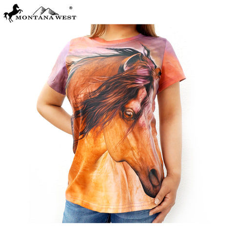 ST-615 Montana West Horse Art-Laurie Prindle Collection Ladies T Shirt Prepack (6PCS)