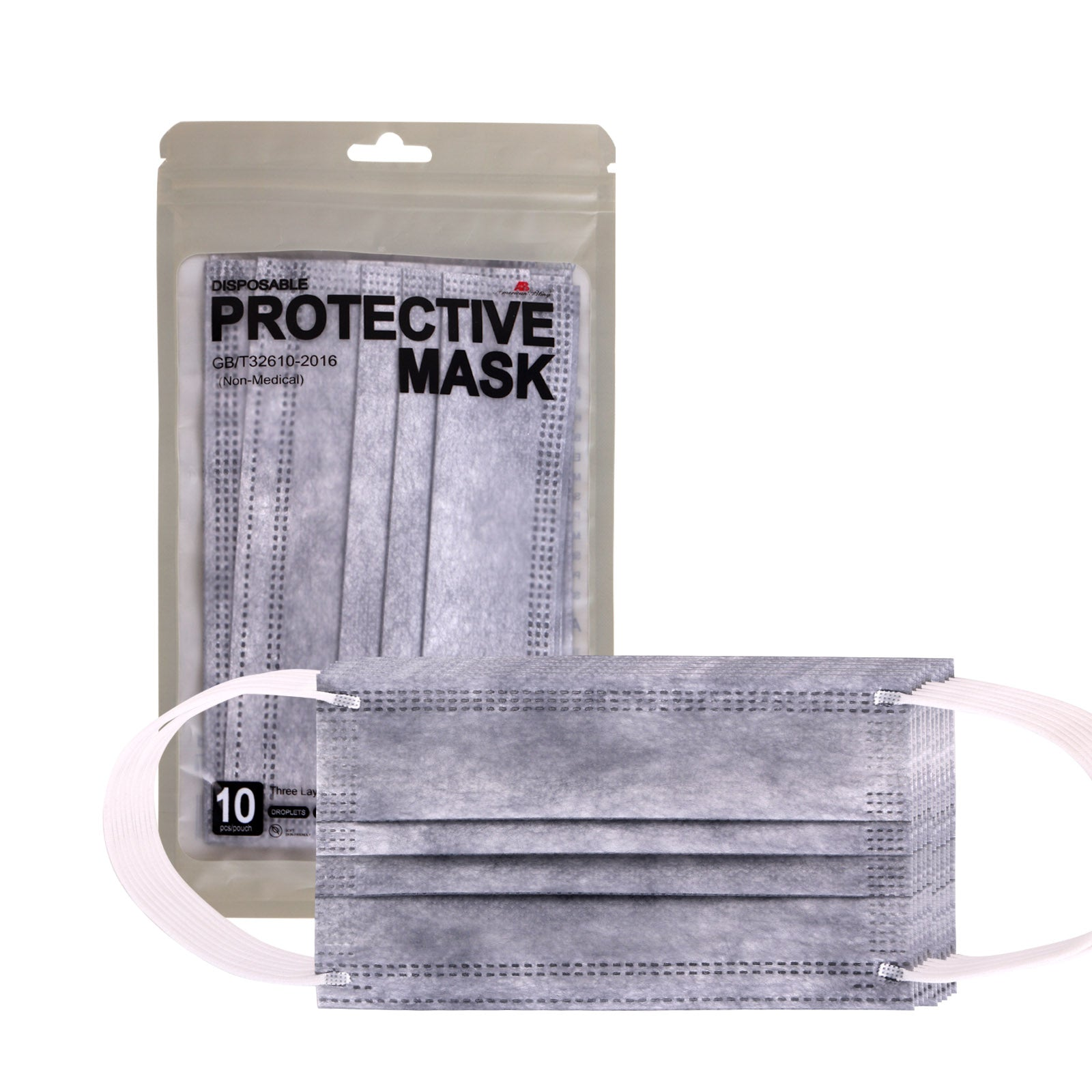 ABFM-GY10   10 PCS Grey Disposable Face Masks 3 Layers  Protective Cover Masks (Non-Medical)
