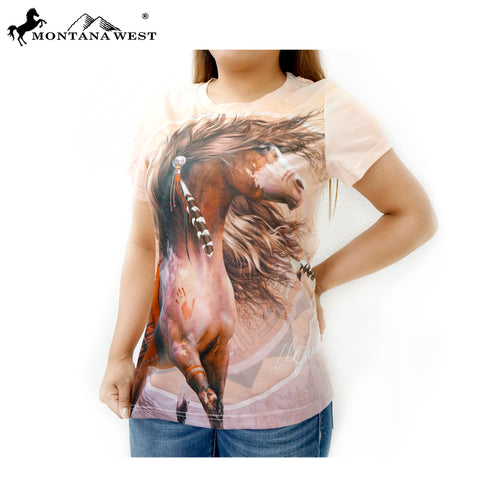 ST-613 Montana West Horse Art-Laurie Prindle Collection Ladies T Shirt Prepack (6PCS)