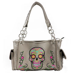 AB-G6108BG  American Bling Embroidered Sugar Skull Concealed Carry Satchel-Beige