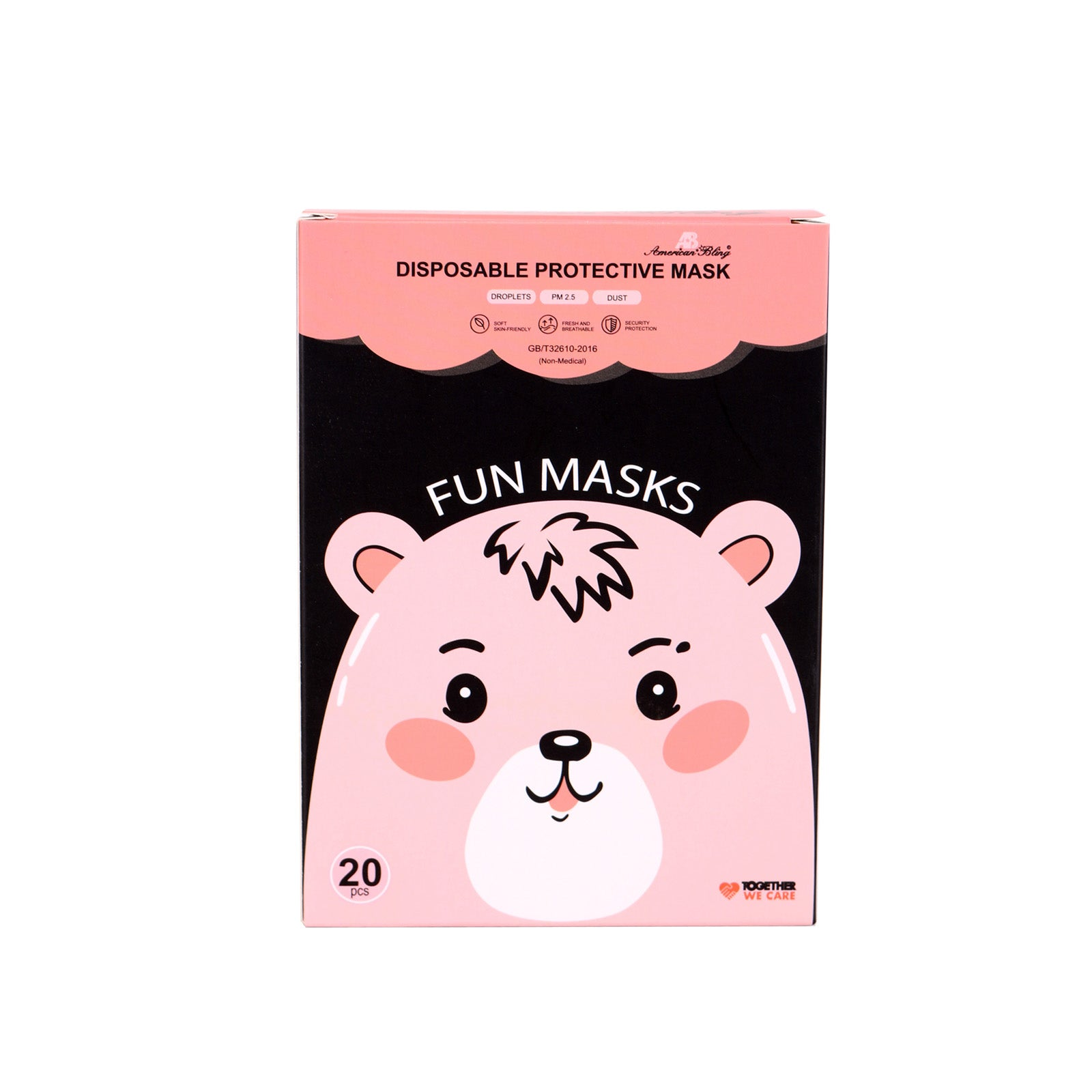 KD-FMWT2-20  American Bling Kids 3 Ply Disposable White Face Mask Non-Medical (20Pcs/Box)