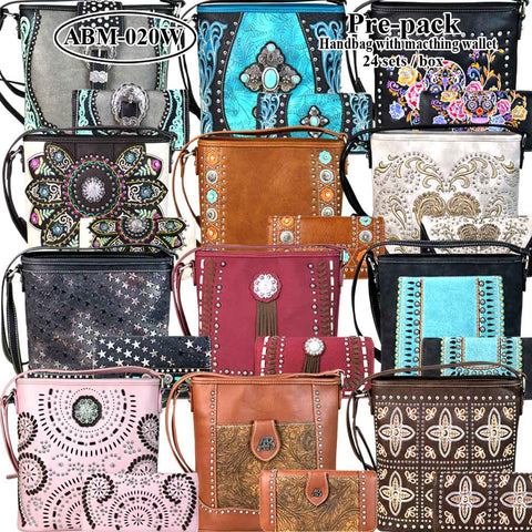 ABM-020W American Bling Messenger Bag Pre-pack 12Pcs/Set with Matching Wallets