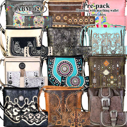 ABM-021W American Bling Messenger Bag Pre-pack 12Pcs/Set with Matching Wallets