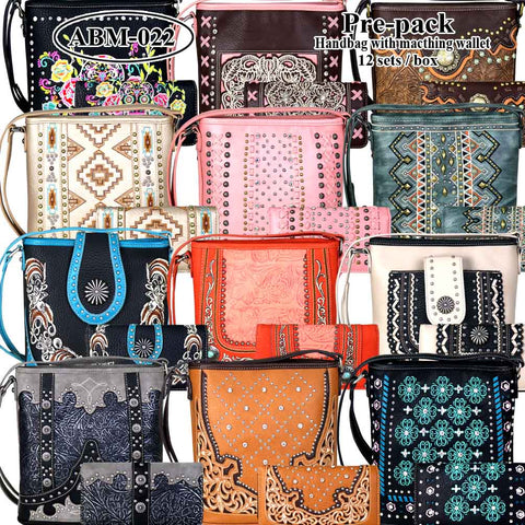 ABM-022W American Bling Messenger Bag Pre-pack 12Pcs/Set with Matching Wallets