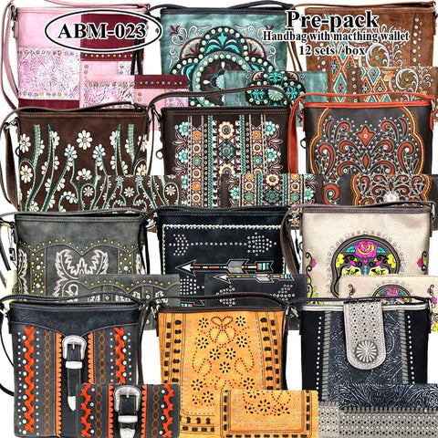 ABM-023W American Bling Messenger Bag Pre-pack 12Pcs/Set with Matching Wallets