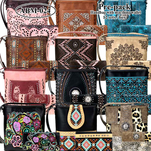 ABM-024W American Bling Messenger Bag Pre-pack 12Pcs/Set with Matching Wallets