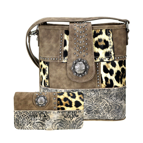 ABM-G2401 American Bling Leopard Print Crossbody and Wallet Set