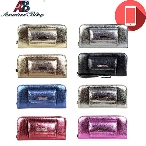 ABP01-W016 American Bling Glittery Phone Charging Wallet Pre-pack (12pcs)