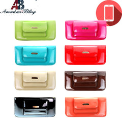 ABP02-W016 American Bling Shiny PU  Phone Charging Wallet Pre-pack (12pcs)