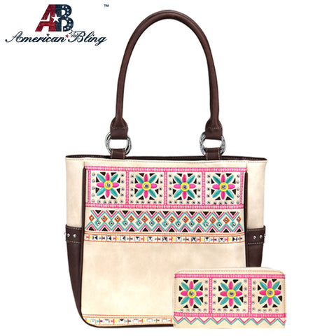 ABS-G025  American Bling Embroidered Collection Concealed Carry Tote and Wallet Set