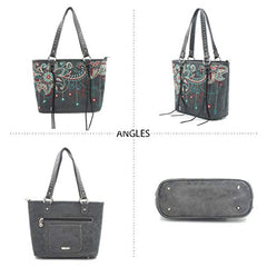 ABZ-G016 American Bling Floral Embroidered Tote and Wallet Set-Black