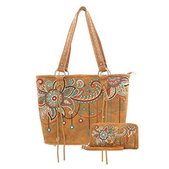 ABZ-G016 American Bling Floral Embroidered Tote and Wallet Set-Brown