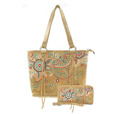 ABZ-G016 American Bling Wing Embroidered Tote and Wallet Set-Khaki