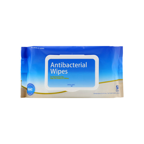 Antibacterial Wipes Resealable Bag (50 Count)