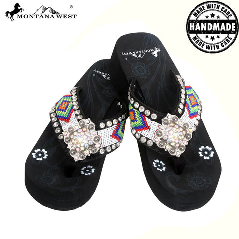 BD01-S002 Aztec Hand Beaded Collection Flip Flops BY CASE