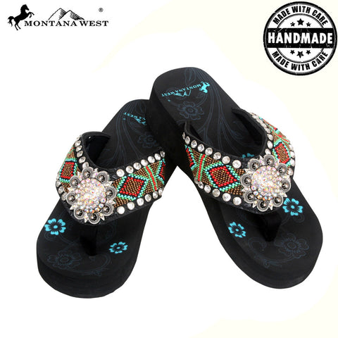 BD02-S001 Aztec Hand Beaded Collection Flip Flops BY CASE