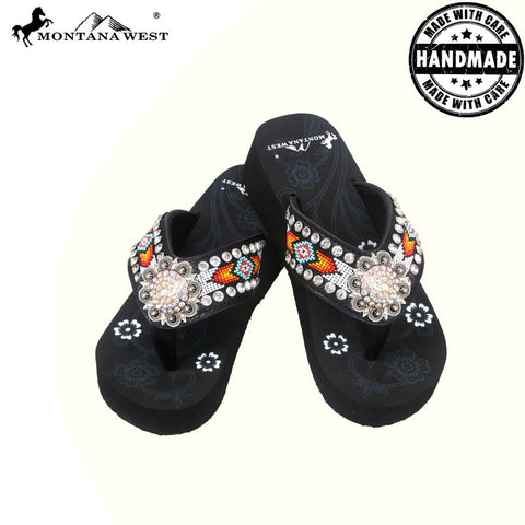 BD03-S001 Aztec Hand Beaded Collection Flip Flops BY CASE