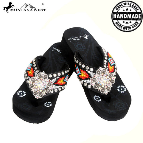 BD03-S002 Aztec Hand Beaded Collection Flip Flops BY CASE