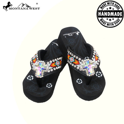 BD03-S008 Aztec Hand Beaded Collection Flip Flops BY CASE