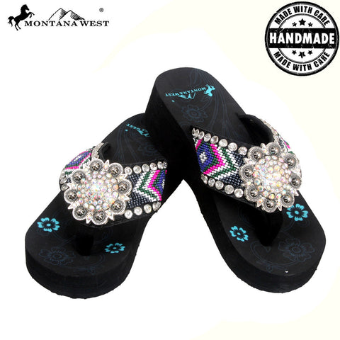 BD04-S001 Aztec Hand Beaded Collection Flip Flops BY CASE