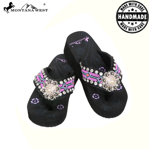BD11-S001 Aztec Hand Beaded Collection Flip Flops BY CASE