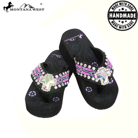 BD11-S008 Aztec Hand Beaded Collection Flip Flops BY CASE