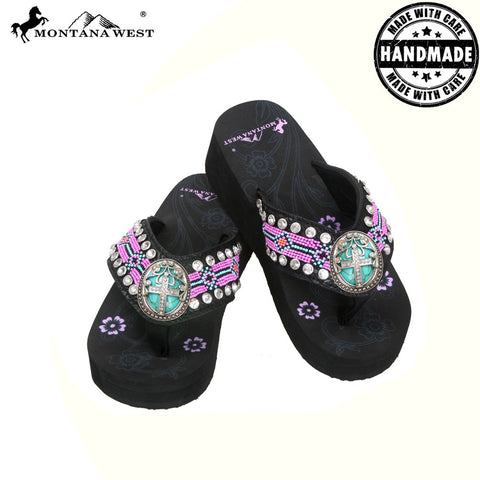 BD11-S083 Aztec Hand Beaded Collection Flip Flops BY CASE