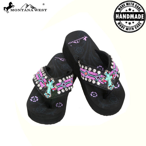 BD11-S088S Aztec Hand Beaded Collection Flip Flops BY CASE