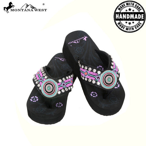 BD11-S090 Aztec Hand Beaded Collection Flip Flops BY CASE