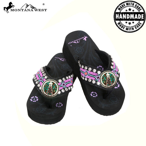 BD11-S092 Aztec Hand Beaded Collection Flip Flops BY CASE