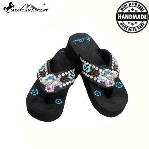 BD13-S008 Aztec Hand Beaded Collection Flip Flops BY CASE