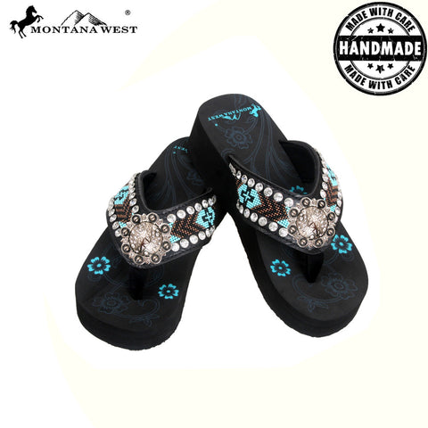 BD13-S091 Aztec Hand Beaded Collection Flip Flops BY CASE