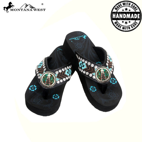 BD13-S092 Aztec Hand Beaded Collection Flip Flops BY CASE