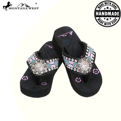 BD14-S001 Aztec Hand Beaded Collection Flip Flops BY CASE