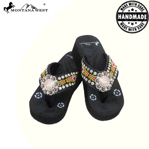 BD15A-S001 Aztec Hand Beaded Collection Flip Flops BY CASE